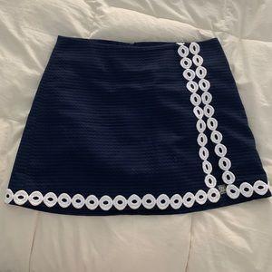 Blue skirt.